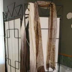TWO brown/cream scarves